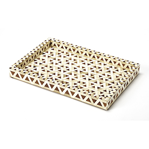 Hors D-oeuvres Amal Wood and Bone Inlay Serving Tray