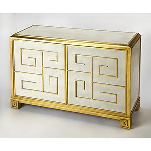 Cosmopolitan Gold Bello Leather Console Cabinet