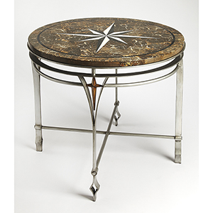 Metalworks Silver Regina Fossil Stone and Metal Foyer Table