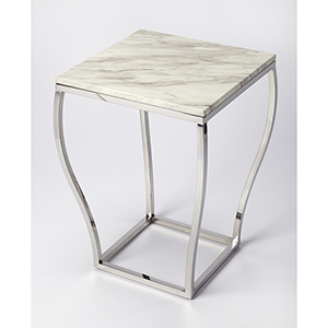 Loft Nickel Haley Marble and Metal End Table