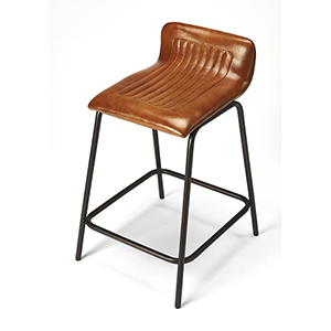 Industrial Chic Brown Ludlow Leather and Metal Counter Stool