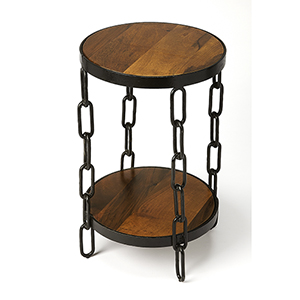 Industrial Chic Black Alice Wood and Metal End Table