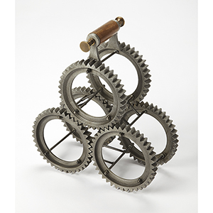 Hors D-oeuvres Alluminum Gear-Y Three-Bottle Tabletop Wine Rack
