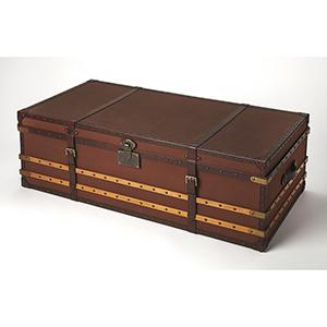 Cosmopolitan Brinson Brown Leather Storage Trunk