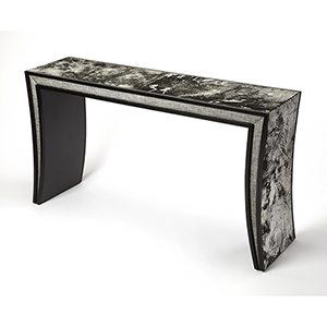Cosmopolitan Black Ardmore Hair-On-Hide Leather Console Table