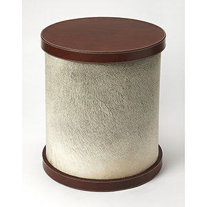 Cosmopolitan Brown Leandro Hair-On-Hide Leather End Table