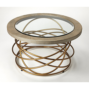 Cosmopolitan Brown Ernesto Leather and Metal Coffee Table