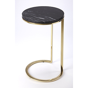 Butler Loft Polished Gold Martel Marble and Metal Side Table
