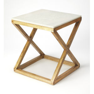 Tan 20-Inch Accent End Tables with Marble