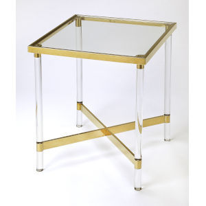 Brown 24-Inch Accent End Table with Acrylic
