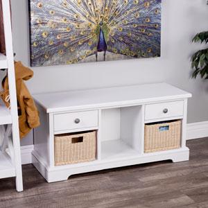 Asya White Storage Bench