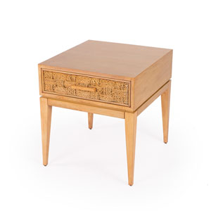Faddei Natural Wood End Table