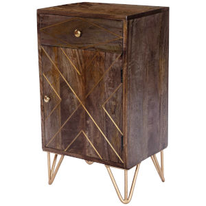 Alda Brown and Brass Chairside Chest
