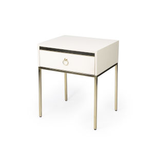 Monika White 22-Inch Rectangular End Table