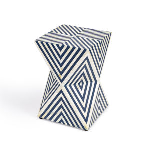 Bone Inlay Anais Navy Blue and White End Table