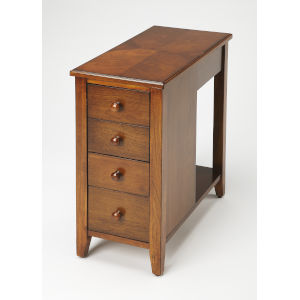 Brown Four-Drawer Chairside Chest