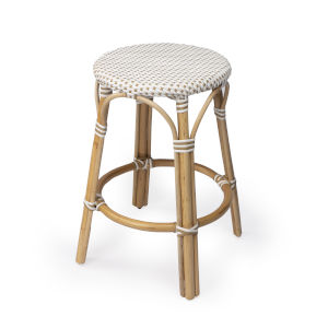 Tobias Beige 16-Inch Round Counter Stool