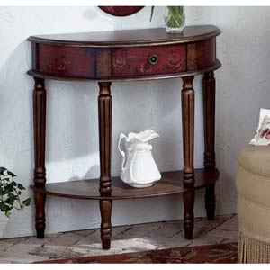 Artists Originals Red Demilune Console Table