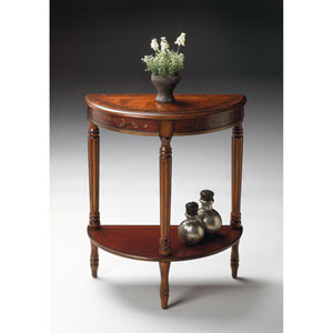 Cherry and Red Paint Demilune Console Table