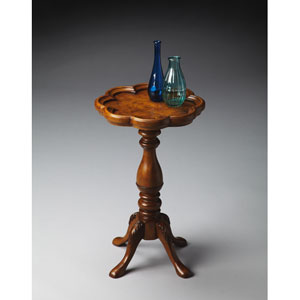Masterpiece Olive Ash Burl Scalloped Edge Scatter Table