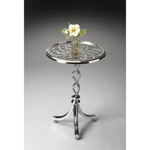 Modern Expressions Round Checkered Trim Accent Table