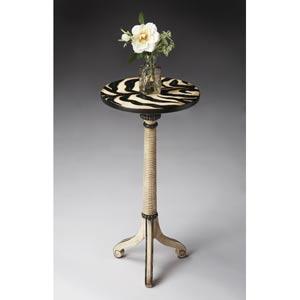Zebra Stripe Beige and Black Pedestal Table