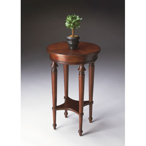 Plantation Cherry Accent Table with Lower Display Shelf