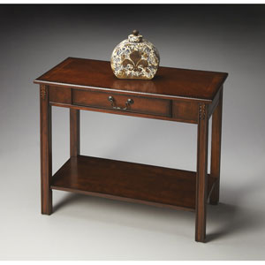 Plantation Cherry Lower Shelf and Storage Console Table