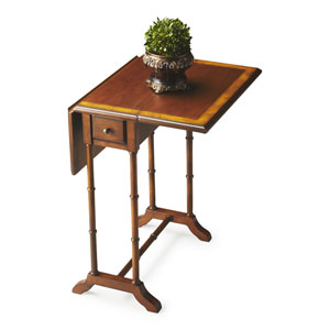 Olive Ash Burl Drop-Leaf Table