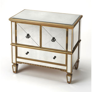 Celeste Mirror and Gold Console Cabinet