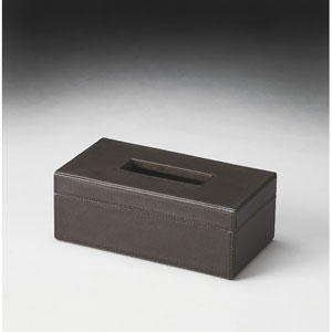 Hors Doeuvres Black Leather Tissue Box