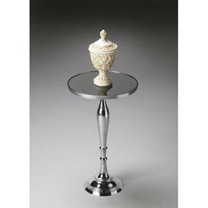 Nickel Black Mirror Glass Top Pedestal Table