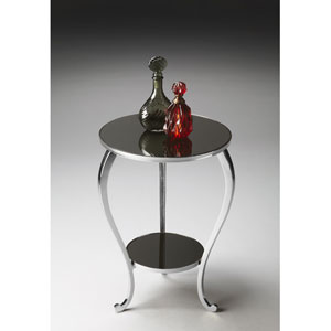 Nickel Black Mirror Glass Top Accent Table