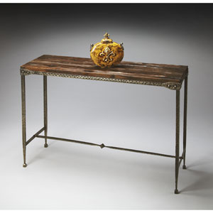 Mountain Lodge Hammered Pewter Console Table