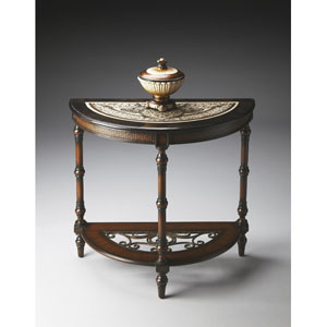Metalworks Demilune Mahogany Wood Console Table