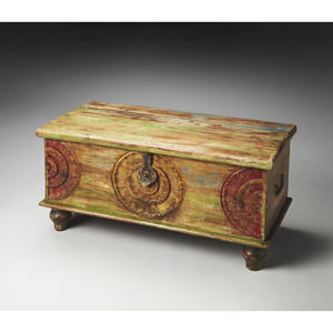 Mesa Carved Wood Trunk Cocktail Table