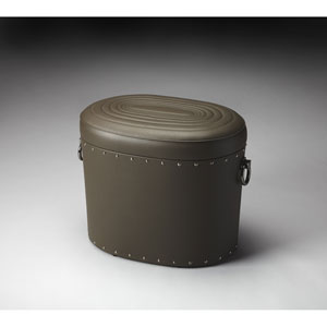 Calloway Grey Leather Storage Ottoman