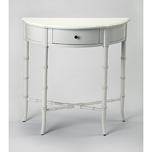 Butler Skilling Glossy White Demilune Console Table