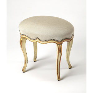 Micheline Cream and Gold Painted Vanity Stool