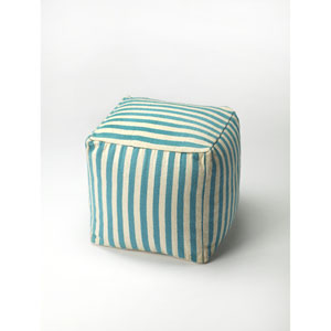 Sanibel Blue Stripe Pouffe