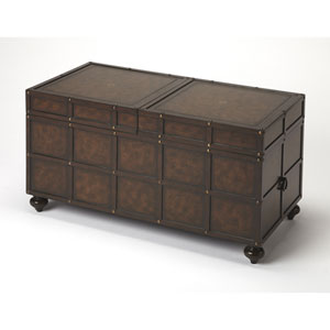 Dennard Faux Leather Trunk Cocktail Table