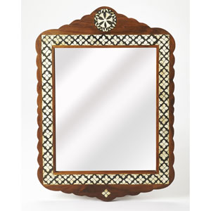 Gabby Wood and Bone Inlay Wall Mirror