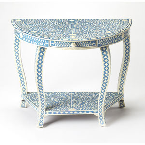 Darrieux Blue Bone Inlay Demilune Console Table