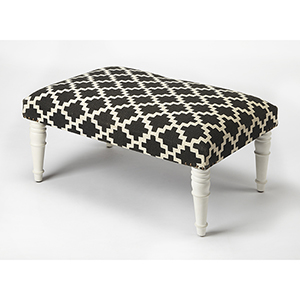Butler Lucinda Black and White Upholstered Cocktail Ottoman