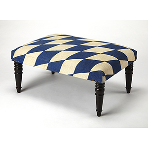 Butler Lucinda Blue and White Harlequin Cocktail Ottoman