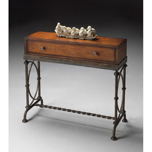 Old World Cherry Single Drawer Console Table with Antiques Brass Hardware