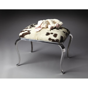 Modern Expressions Nickel Plated Cowhide Ottoman