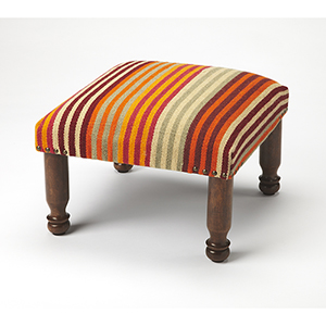 Butler Wanda Striped Orange Upholstered Stool