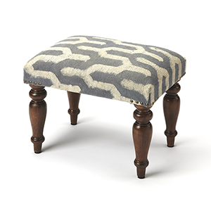 Butler Yolanda Faded Blue and White Print Vanity Stool
