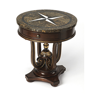Capela Fossil Stone Accent Table